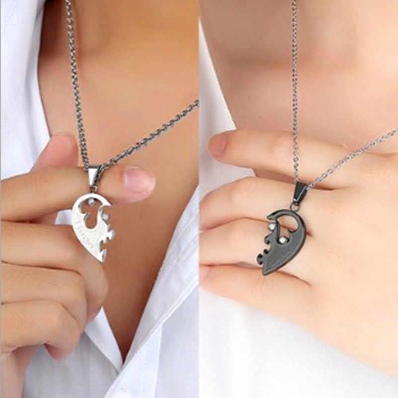HNSP Nửa trái tim tình nhân Mặt Dây Chuyền Cặp Đôi Vòng Cổ Cho Nữ người bạn thân nhất Vàng Bạc Dây Chuyền trang sức choker collares