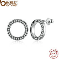 BAMOER Forever Clear CZ 925 Sterling Silver Circle Push Back Femme Stud Earrings Jewelry Boucle D