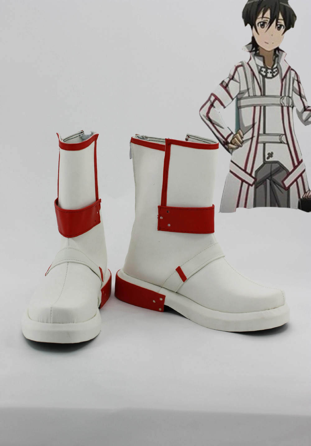 Free shipping Custom cheap white Kirito shoes from Sword Art Online Cosplay Halloween