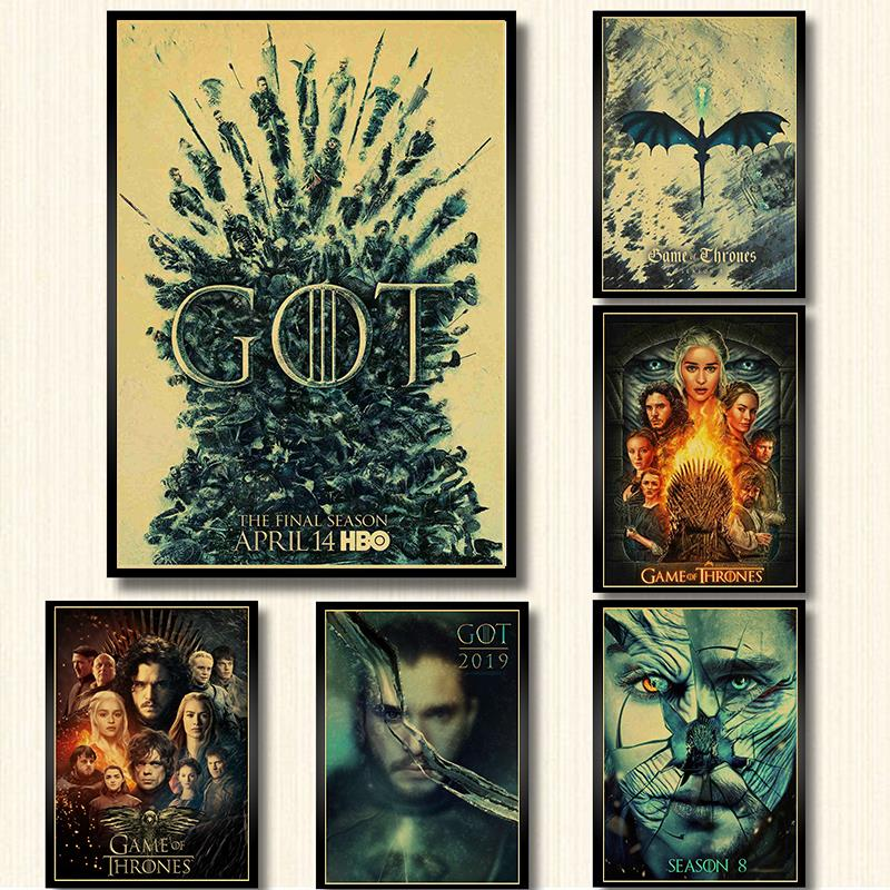 Hot New Game Of Thrones Season 8 Poster 2019 TV Play Poster And Prints Wall Art Painting For Home Room Decor Wall Sticker