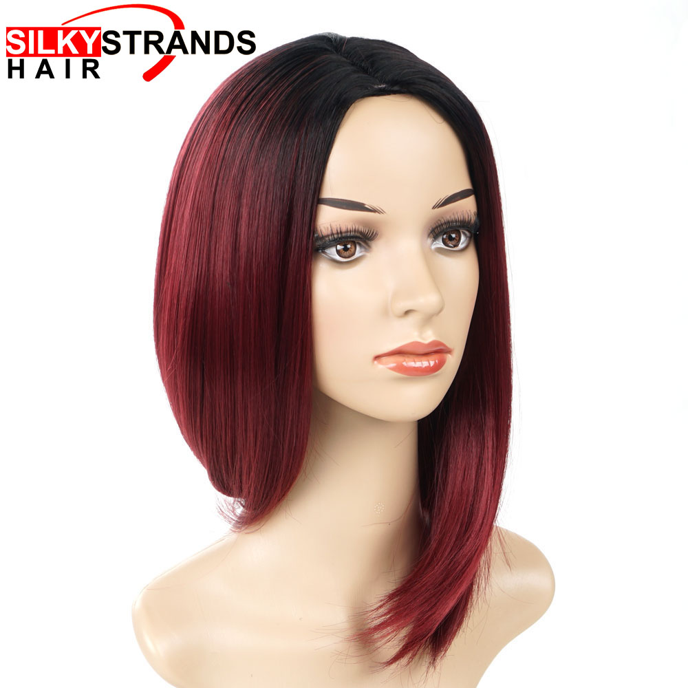 Silky Strands Ombre Black Red Short Straight Wigs For