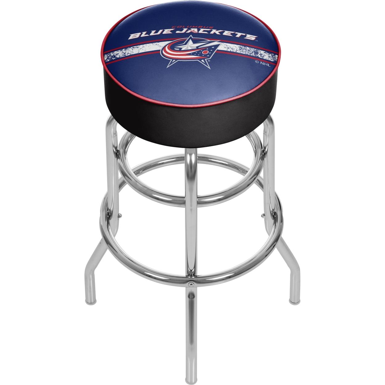 NHL Chrome Padded Swivel Bar Stool 30 Inches High - Columbus Blue Jackets nhl chrome 42 inch pub table columbus blue jackets