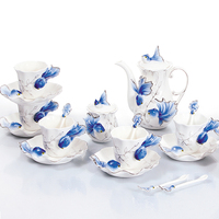 Porcelain enamel Xuanjin 21 head goldfish coffee sets creative coffee cup tea teapot cup European hand painted
