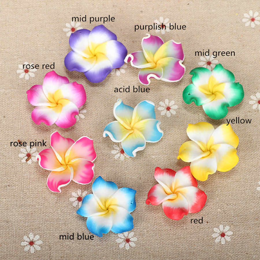 10pc/lot 30mm Polymer Clay Fimo Bali Frangipani Plumeria Flower Beads Charm Making Earring Necklace Pendants Jewelry Accessories