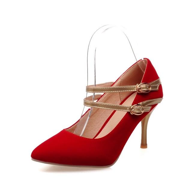 Armário New Glamour Sexy mulheres nuas bombas preto vermelho azul de salto alto moda gravata borboleta sapatos de senhoras formais AM68S mais grande tamanho 30 47