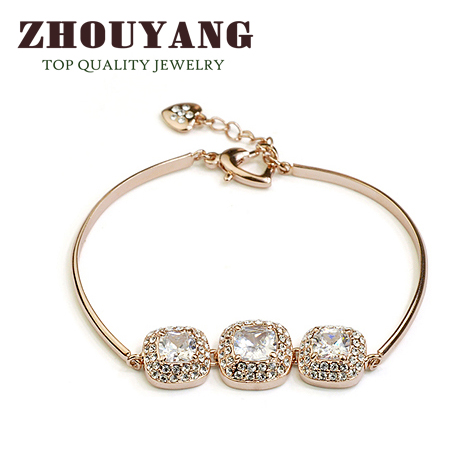 Top Quality Simple Fashion Crystal Rose White Gold Plated font b Bracelet b font Austrian Crystal