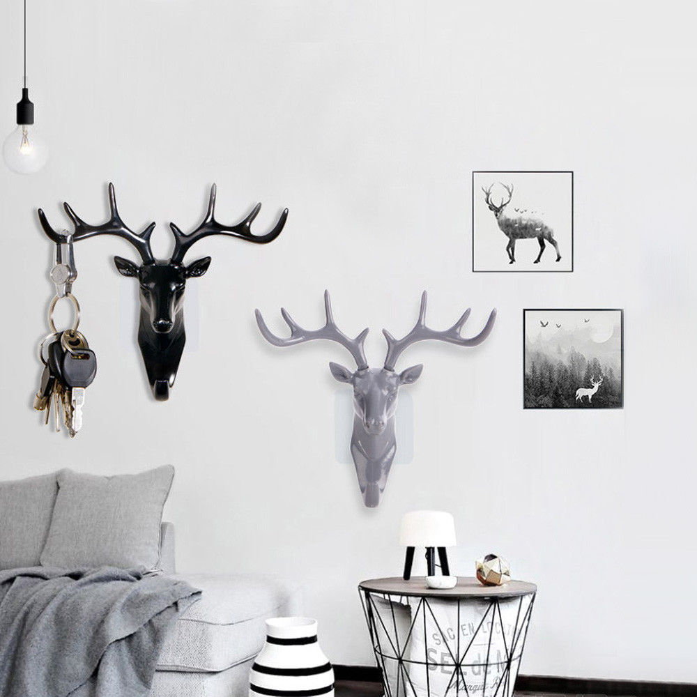 DIY Deer Head Self Adhesive Wall Hanger Hook Ornament Art Reindeer Elk Clothes Bag Storage Hook Wall Mounted Sticky Holder Racks