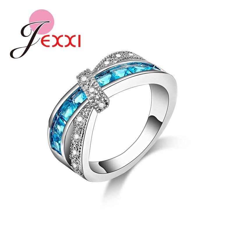 JEXXI Weavy Design Rhinestone 925 Stamp Sterling Silver Finger Rings ...