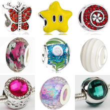 Colorful Crystal Alloy Beads Small Hamsa Hand Bear Owl Cartoon Mickey Mouse Beads Charms Fit Original Pandora Bangles Women DIY(China)