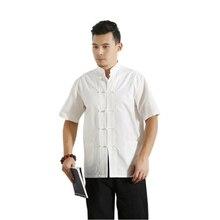 Primavera Outono 100% Algodão dos homens brancos Sólidos Jaqueta Tradicional Chinesa Tang Terno Casaco de Manga Comprida Kung Fu Tai Chi uniforme A204