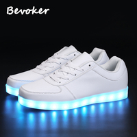 Bevoker 2017 Low Top Men LED Light Up Shoes 7 Colors Lighted Men Casual Shoes White