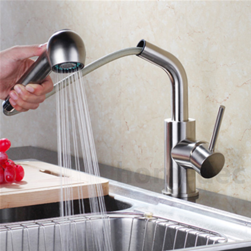 Kitchen Mixer Tap Kitchen Pull Out Faucet Brass Nickle Cold And Hot Two Spouts Kitchen Faucet Double Tap Shower Torneira Cozinha new arrival tall bathroom sink faucet mixer cold and hot kitchen tap single hole water tap kitchen faucet torneira cozinha