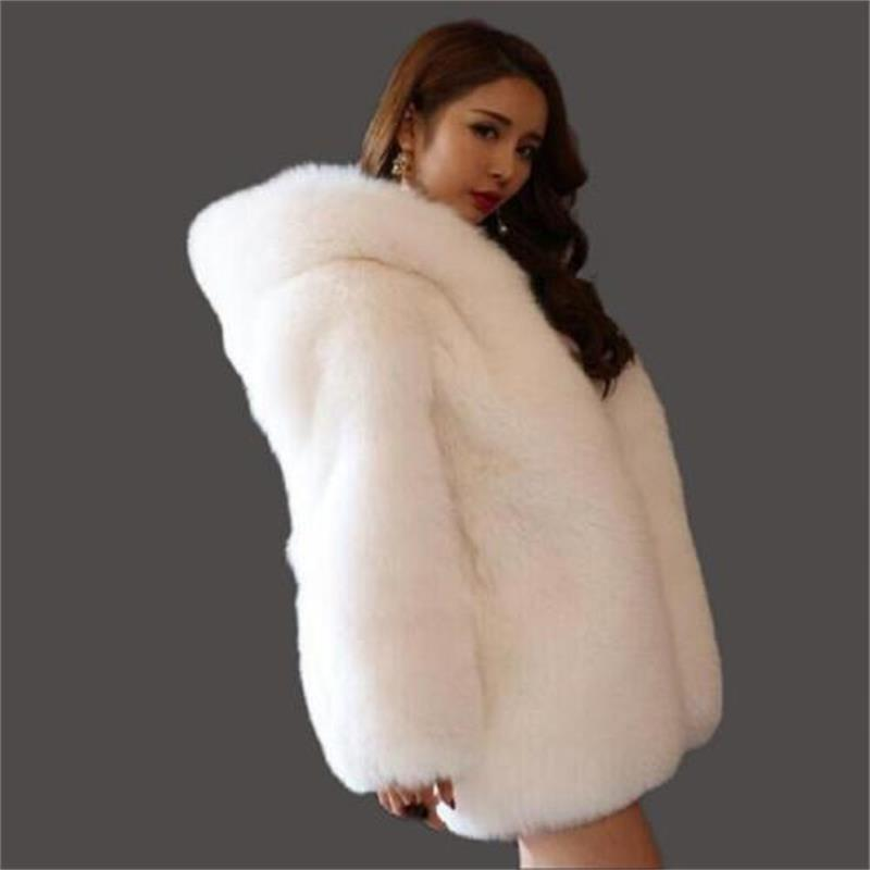 2019 new high-quality Fur coat artificial fur in the long section of the thick warm whole skin fox fur fur hood coat women