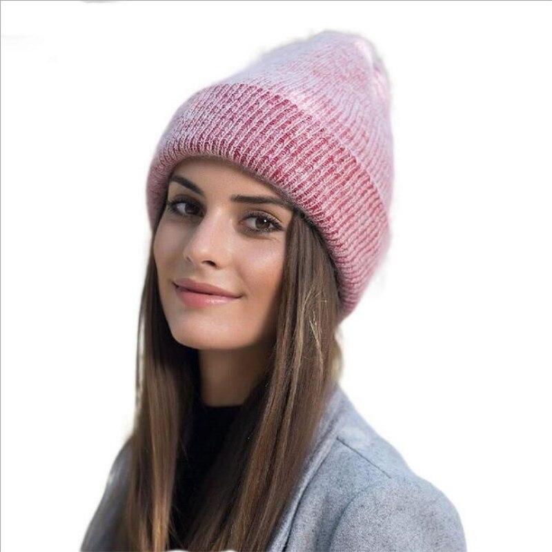 oZyc soft rabbit double knitting thick bonnet   beanie   caps solid warm winter hats for women's cap   skullies     beanies   female hat