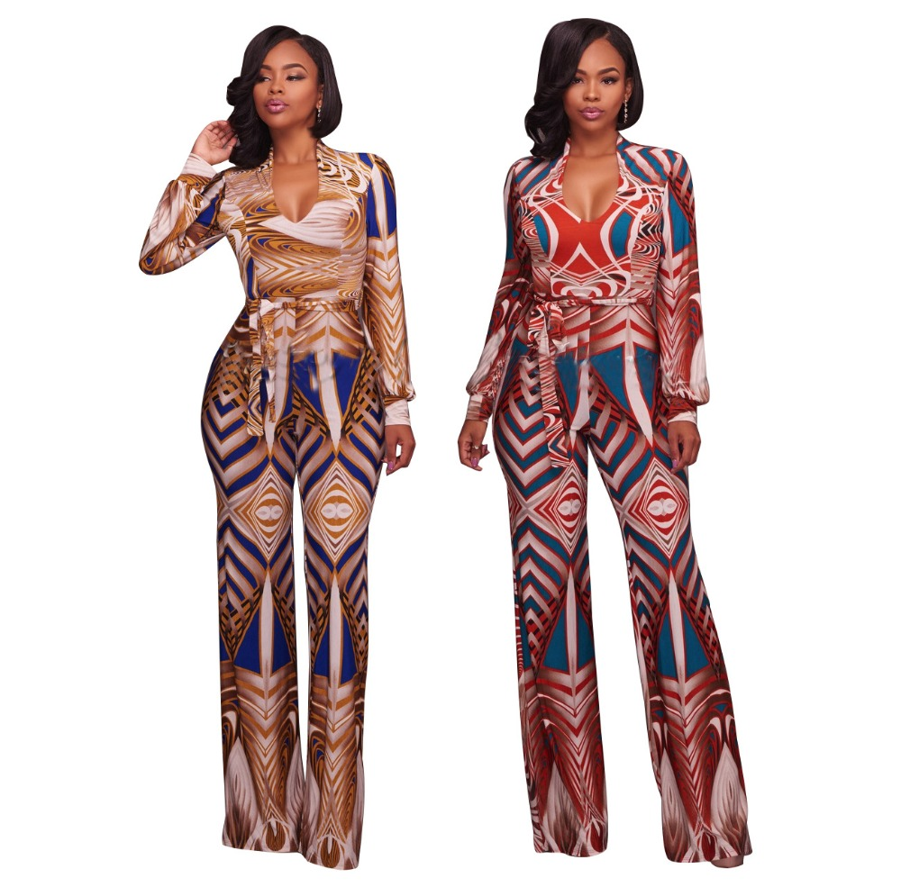 Plus Size Women Jumpsuits Autumn Long Sleeve High Waist Overalls Bodycon Jumpsuit Rompers Wide Leg Casual Jumpsuit With Belt