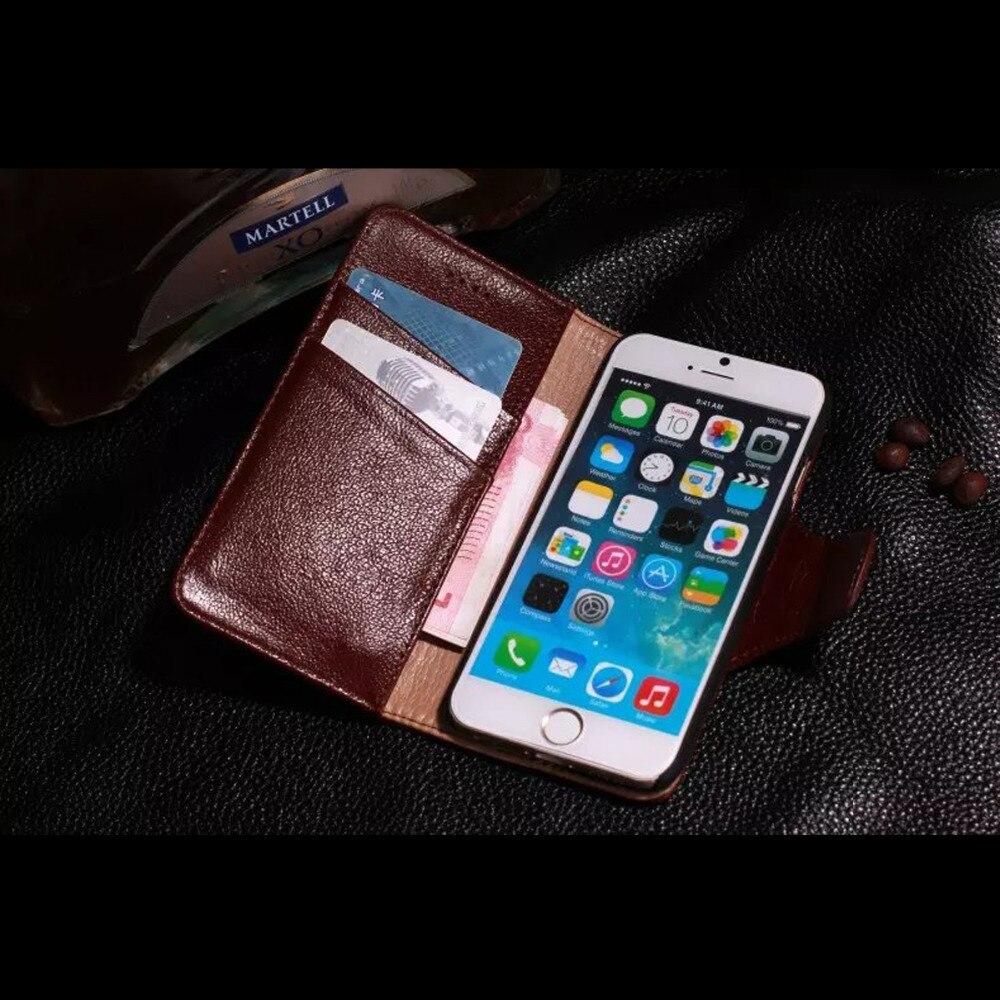 Coque pour iphone 6 4,7 pouces Yak en cuir véritable étui de luxe affaires aimant portefeuille hommes Flip couverture Funda Style rétro