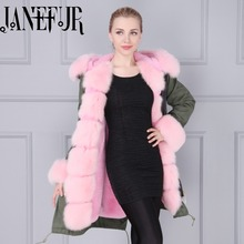 Khaki Green Colored Outshell Ladies Long Pink Coats With Fox Fur trim Women Fox fur Collar Parka