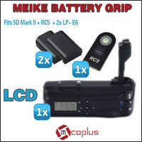 Meike LCD Timer Battery Grip For Canon EOS 5D Mark II RC5 Wireless Infrared Remote Control