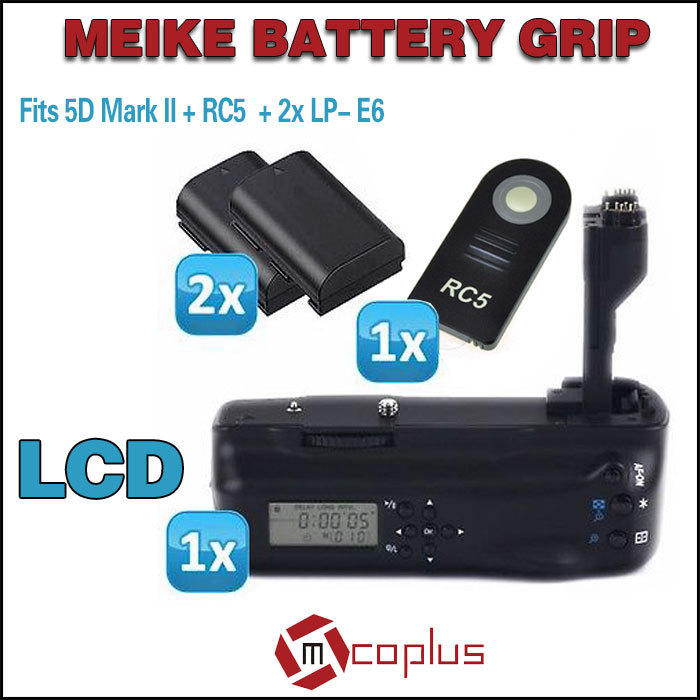 Mcoplus BG-5DIIL LCD Battery Grip for Canon EOS 5D Mark II + IR Wireless Remote Control + 2x LP-E6 Battery shoot lp e6 7 2v 1800mah battery pack for canon eos 5d mark ii 7d 60d