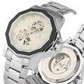 Модные автоматические механические часы для мужчин с изысканным скелетом Siliver  римскими цифрами  циферблатом  механические наручные часы