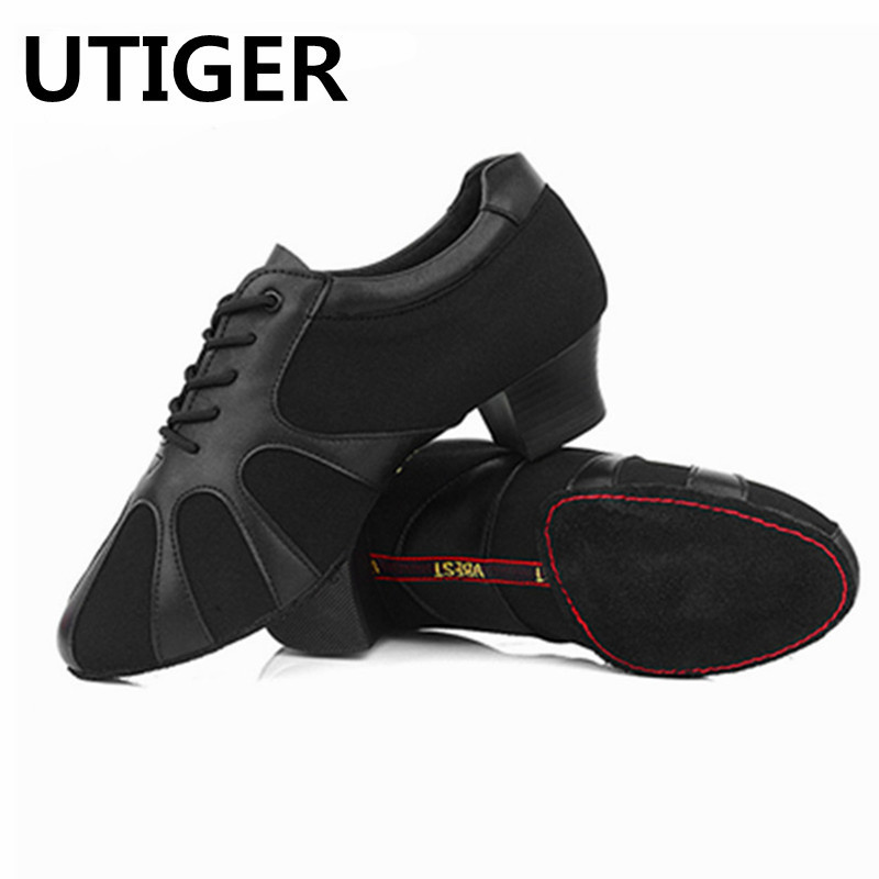 Big size 25-45 Genuine Leather Boy Men Modern Ballroom Tango Latin Dancing Shoes Heel 3.5CM 4.5CM Man Male dance shoes WD288