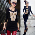 M-3XL New Autumn Style owl Embroider Max Plus Size Long Sleeve T-shirt Women Tee Shirt Female Long Cultivate Coat Dress 16D