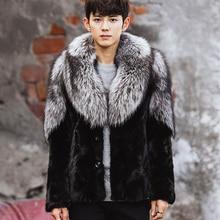 CR104 Natural pieces of mink fur coat men's winter warm real mink fur coats jackets with big genuine silver fox fur collar