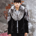CR104 peças Naturais de vison casaco de pele dos homens inverno quente real casacos de pele de vison casacos com grandes genuine silver fox fur collar