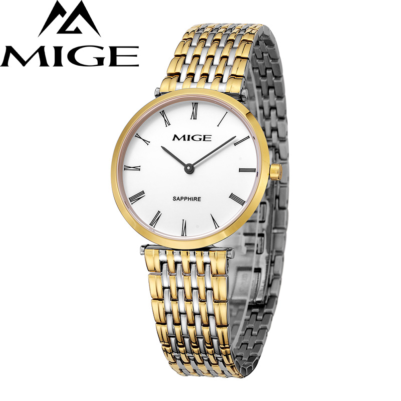Mige 20017 New Hot Sale Top Brand Lover Watch Simple White Dial Gold Case Man Watches Waterproof Quartz Mans Wristwatches