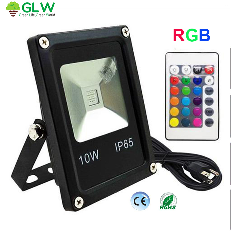 GLW IP65 Waterproof Led Flood Light 10W RGB Remote Control Projecteur Exterieur Outdoor Focos Led 220v