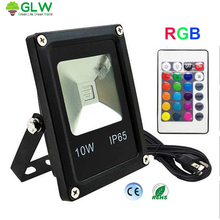 GLW IP65 Waterproof Led Flood Light 10W RGB Remote Control Projecteur Exterieur Outdoor Focos Led 220v Exterior 110V Floodlight