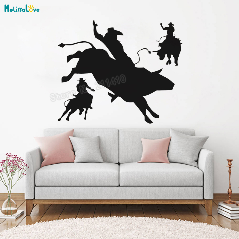 Cowboy Wall Sticker Rodeo Time Decals Vinyl Home