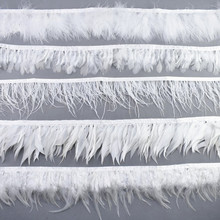 1Meters White Pheasant Feathers Duck Turkey Ostrich Feather Fringe Trims Goose for Crafts Jewelry Making DIY Plumas