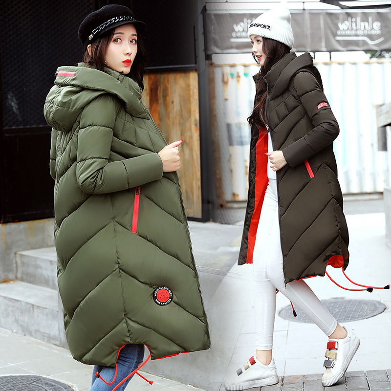 2017 Winter New Fashion Women Thick Warm Long Sleeve Zipper Jackets Female Cotton-padded Hooded Long Parkas Coats 5 Color M-3XL winter jacket women 2017 new female 5 color slim cotton padded jackets fashion short hooded zipper parkas coats a1013b 16601