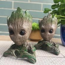 2018 New Guardians Of the Galaxy Avengers Action Figure Toy Modelo Homem Árvore Bebê Vaso caneta Macetero Vaso de flores Plantador pot