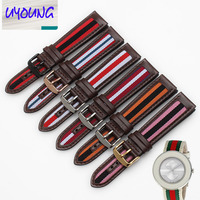 UYOUNG New Leather Nylon Color Bracelet Hit For YA142304 20mm Watch Strap