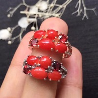 Prezzo speciale s925 argenteo belle ragazze regalo regalo di compleanno mamma reale argento sterling 925 natural corallo rosso anello fine jewelry