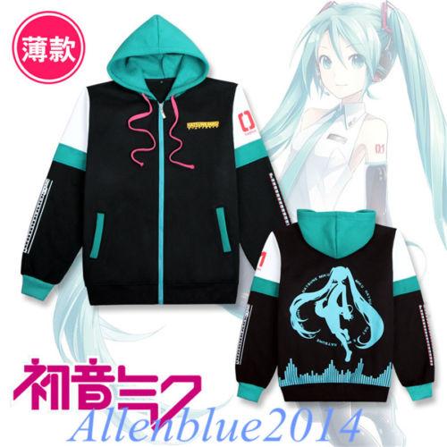 Anime Vocaloid Hatsune Miku Costume Outfits Zipped Jacket Hoodie Sweatshirt Coat Cosplay Girls