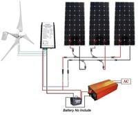 800W Kit Wind Turbine: 400W Wind Generator + 3*160W Solar Panel + 1000W Inverter