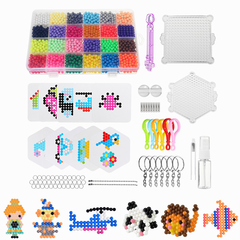 купить 24 Colors 3000pcs Water Spray Magic Beads DIY Kit Ball Puzzle Game Fun DIY handmaking 3D puzzle Educational Toys For Children по цене 964.87 рублей