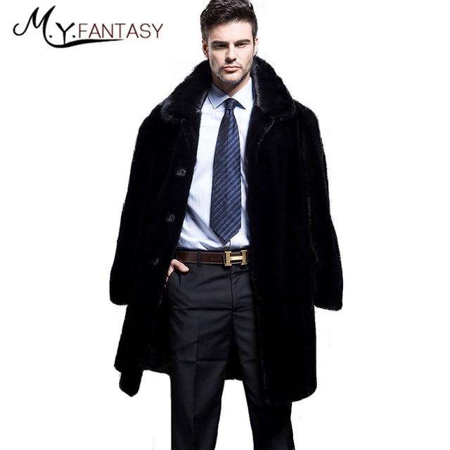 M Y FANSTY Shuba invierno 2019 Cisne Negro de visón de terciopelo traje de hombre Collar piel chaqueta con cremallera con sombrero Slim Causal abrigos de visón