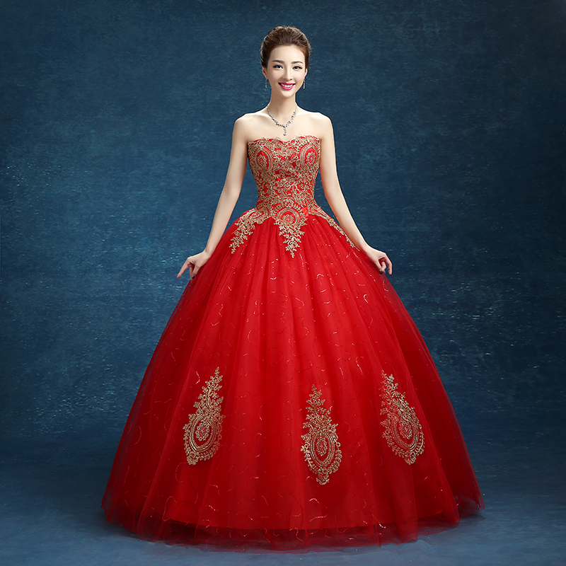 Real photo princess embroidery gold red wedding dress 2016 for Red wedding dresses cheap