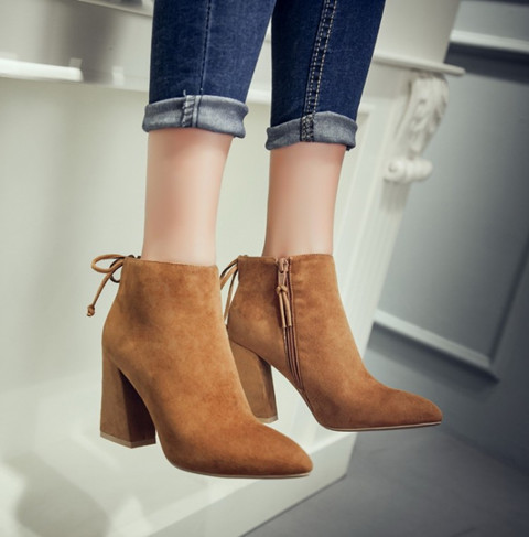 ФОТО NEW Star Bag Women Ankle Boots Sexy Pointed Toe Side Zipper Female Shoes Genuine Leather Lace-up Thick Heels 3 Colors
