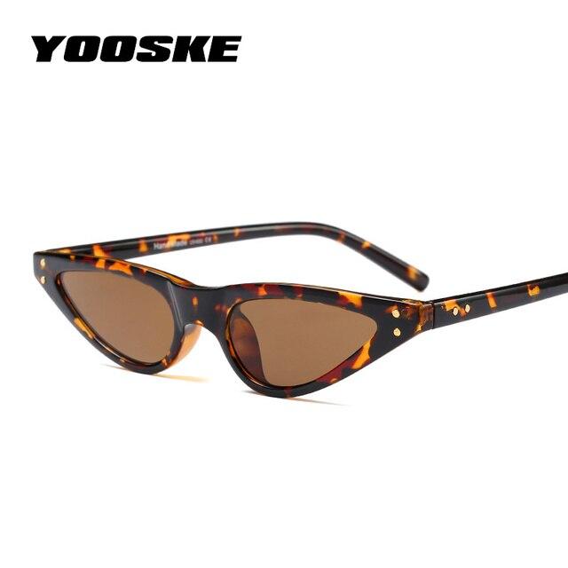 YOOSKE Cat Eye Sunglasses Women Small Triangle Eyeglasses Vintage Stylish Cateye Sun Glasses Female UV400 Glasses 2018 Gifts