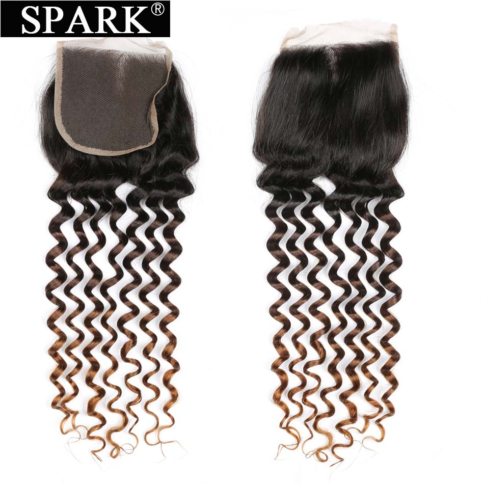 Spark 1B/4/30 Three Tone Ombre Brazilian Deep Curly Lace Closure 4*4 Free Part Middle Part Three Part Remy Human Hair Closure