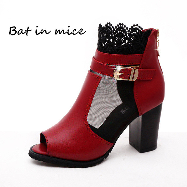 цена на Sexy Women casual Lace mesh Peep Toe pumps Martin Ankle Boots shoes women Waterproof high heels derss Boots shoes Botas W373