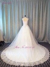 Reka bentuk baru pakaian perkahwinan renda a-line 2015 v leher lengan pendek renda sehingga renda gaun belakang kereta api gaun pengantin Vestido de noiva