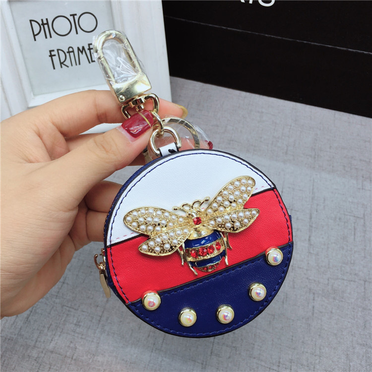 Fashion Rhinestones Bee Leather Coin Purse Keychain Keyring Women Car Purse Charm Key Holder Pendant Accessories Gift Llaveros good fortune lucky keychain wood car bag purse keychain keyring amulet pendant boxwood wooden inlay woodwork key accessories