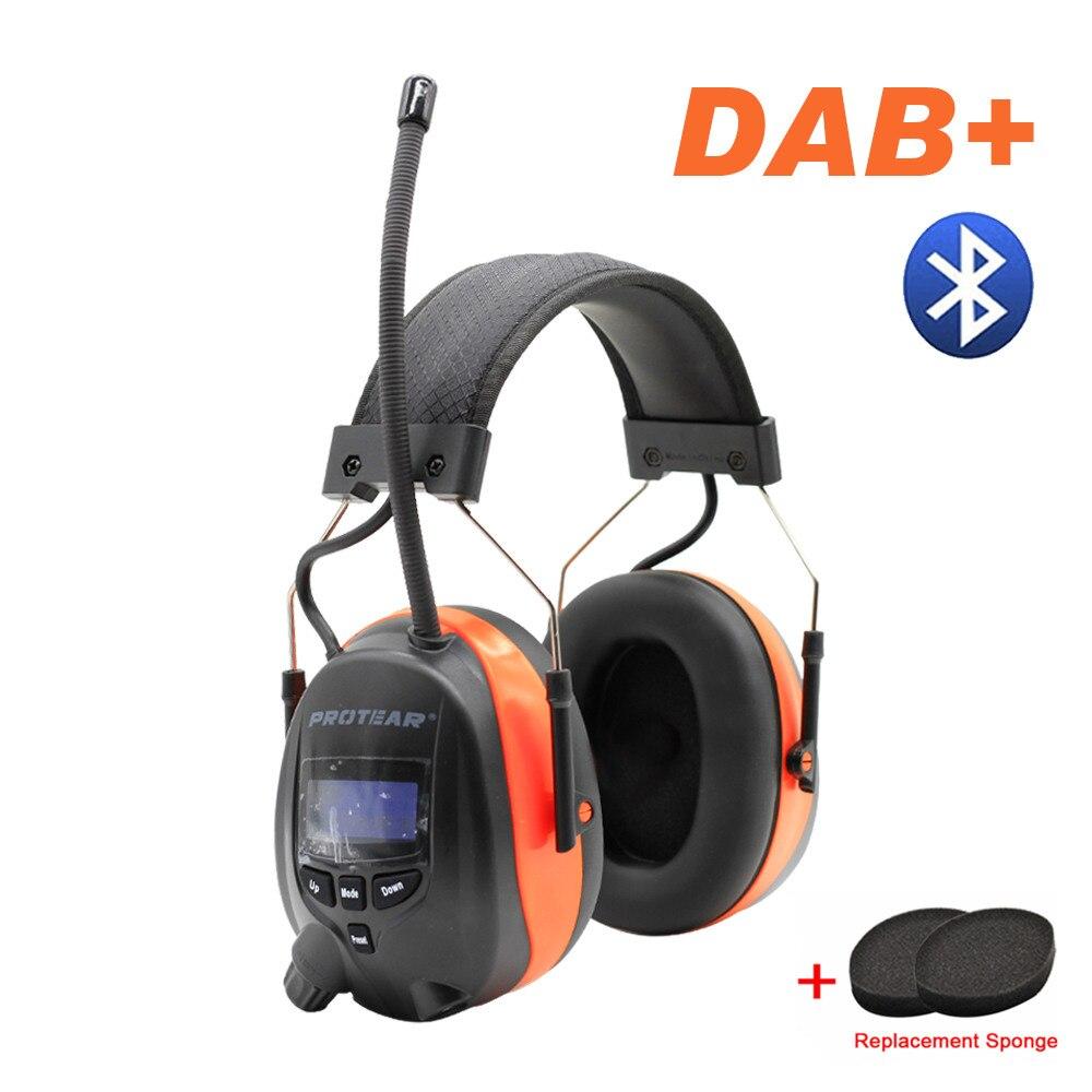 Protear DAB +/DAB/FM Radio Protezione Acustica 25dB Batteria Al Litio Paraorecchie Elettronico Bluetooth Cuffia di Protezione Con La spugna