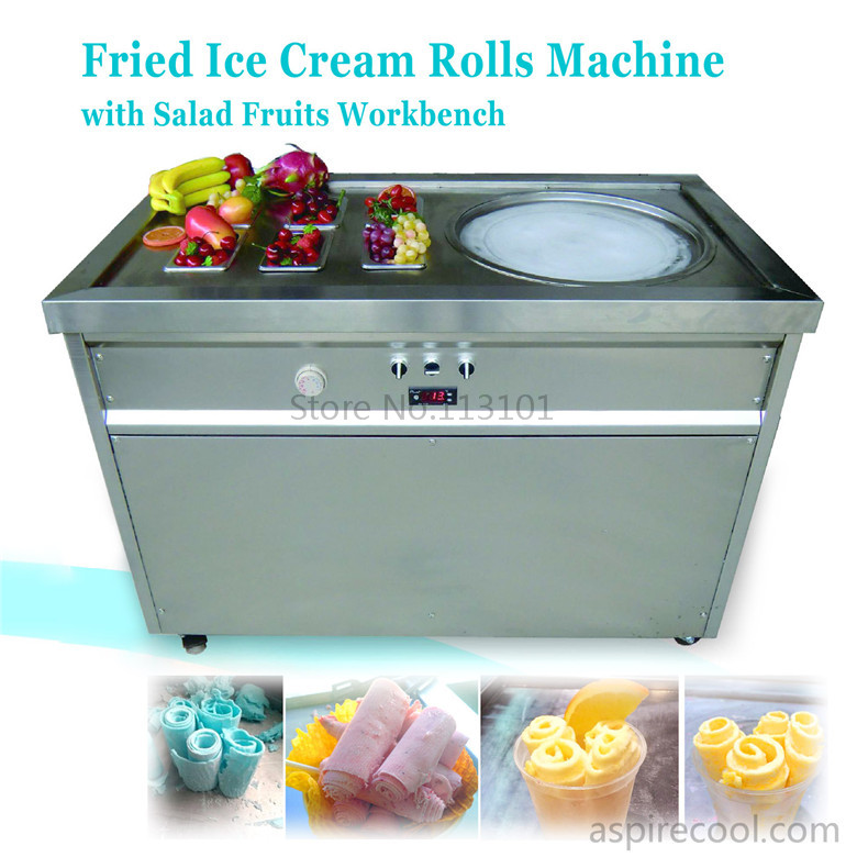 Fried Ice Cream Machine Single Round Pan Ice Cream Roll Machine with Salad Fruits Workbench 6pcs Tanks Cooling double pan fried ice roll pan machine stainless steel 45cm pan fried frying ice cream machine with salad fruit workbench 10pcs